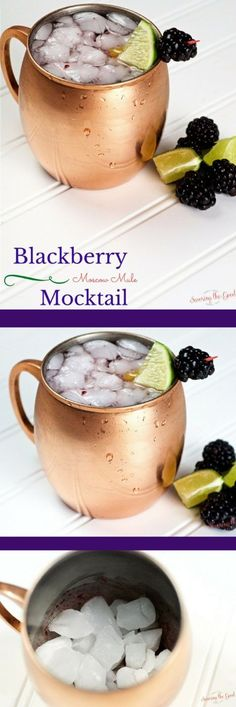 Blackberry Moscow Mule Mocktail. The sun is setting later and later into the evening it is time to sit outside enjoying a Blackberry Moscow Mule Mocktail. This Moscow Mule #Mocktail recipe is great for parties of all ages. All the flavors of a Moscow Mule with out the alcohol.