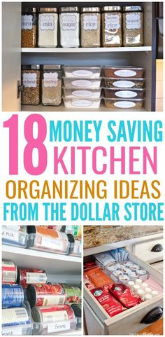 18 Genius Kitchen Organizing Ideas From The Dollar Store - Organization Obsessed Organize your entire kitchen with just one trip to the dollar store! These Dollar Store organization ideas will declutter your kitchen and save you a ton of money! Organizing Hacks, Home Organization Hacks, Pantry Organization, Organizing Your Home, Cleaning Hacks, Dollar Store Organization, Clothing Organization, Decluttering Ideas, Pantry Storage