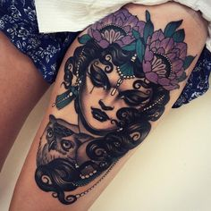 4 color woman and flower tattoo done by tattoo artist Emily Rose Murrary Melbourne Dope Tattoos, Trendy Tattoos, Leg Tattoos, Body Art Tattoos, Tattoos For Women, Exotic Tattoos, Awesome Tattoos, Emily Rose, Tattoo Girls