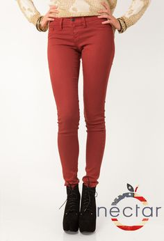 Color Coded Denim Skinnies, Brick Red $47.99