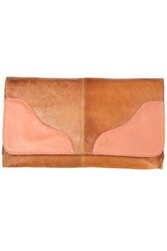 leather contrast clutch