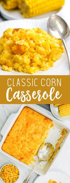Classic Corn Casserole- The easiest mix and dump side dish perfect for thanksgiving. Creamy and sweet and totally delicious. Classic Corn Casserole- The easiest mix and dump side dish perfect for thanksgiving. Creamy and sweet and totally delicious. Baked Creamed Corn Casserole, Casserole Recipes, Stuffing Recipes, Veggie Dishes, Food Dishes, Thanksgiving Recipes, Holiday Recipes, Thanksgiving Casserole, Recipes Dinner