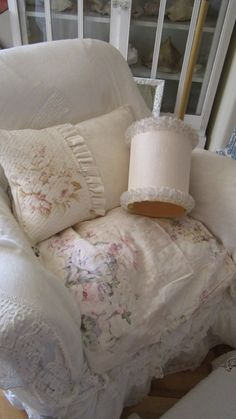 Vintage lampshade ruffles shabby chic by Vintagewhitecottage