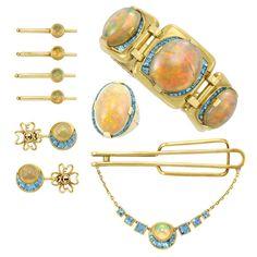 Group of Gentleman's Gold, Opal and Aquamarine Jewelry, Seaman Schepps