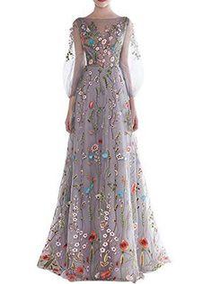Beautiful Prom Dresses Bateau A-line Appliques Tulle Long Prom Dress/Evening Dress JKS126
