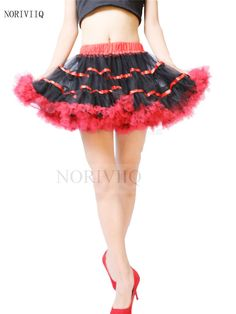 Red Double Lines Soft Crinoline Petticoat Underskirt Women Net Dresses Skirts UK