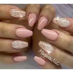 nice Nude pink glitter nails...