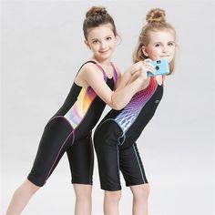 Fardas Children Quick Drying Swimwear Girls Competition Bodysuits Sleeveless Swimsuits Long Shorts Bathing suit