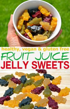 Recipe for vegan fruit juice jelly sweets. These fruit juice jelly sweets are made of just 3 ingredients; fruit juice, the seaweed agar agar and a sweetener. They are quick and easy to make. via @nestandglow