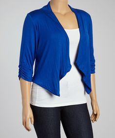 Loving this Royal Blue Open Cardigan  - Plus on #zulily! #zulilyfinds