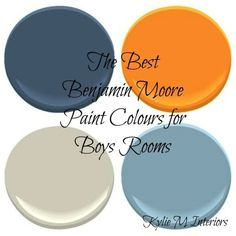 the best benjamin moore paint colours for boys rooms palette.....BINGO! The EXACT colors plus gray that I want to use in Owen's room by MERR