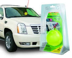 Ball-on-a-string creates a light show when it bumps into the windshield. Includes eye hook, 8 foot line, and 3 replaceable batteries. Simply attaches to garage ceiling.