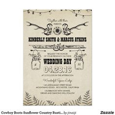 Cowboy Boots Sunflower Country Rustic Barn Wedding Card Rustic wedding invitation with charming country style design elements: deer antlers, cowboy boots, sunflower, string lights, horseshoes couple, love arrows and hanging mason jars with baby's breath.