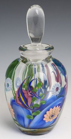 "STEVEN LUNDBERG ART GLASS PERFUME WITH INTRICATELY DETAILED UNDERWATER SCENE CONTAINING MULTICOLORED FISH AND FLOWERS - SIGNED ""STEVEN LUNDBERG 1997"""