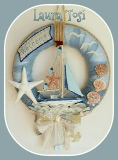 Coastal Wreath, Coastal Decor, Crochet Wreath, Shell Wreath, Cute Bedroom Ideas, Frame Clipart, Coastal Christmas, Shell Crafts, Sea Shells