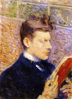 Théo van Rysselberghe (Belgian, 1862-1926), Portrait of Pierre Olin Reading, 1887. Oil on canvas, 36 x 27 cm. Private collection.