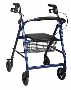 "Basic Rollators by Medline. $75.11. ? Loop-style brakes you push down to lock and pull up to release. ? Padded backrest and padded seat offer the ability to rest. ? Height-adjustable arms to ensure a proper fit. ? Folding capabilities for condensed storage. ? 250-lb. weight capacity. ? 6"" (15 cm) wheels; 17.5"" (44 cm) between handles; 20.5"" (52 cm) seat height; height min./max. is 31"" -35"" (79-89 cm). ? Weighs just 14 lbs."