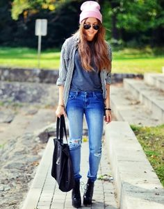 denim pant leather hand bag shirt with grey blouse and sun glasses