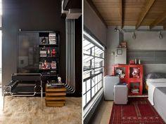 Não+esconda+nada:+decoração+com+tubulação+aparente. Casa Patio, Loft, Home Appliances, Living Room, Interior Design, Peek A Boos, Interior Decorating, Decorating Ideas, Arquitetura