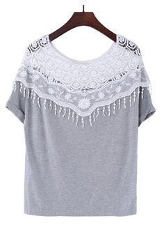 Grey Patchwork Round Neck Loose Cotton Blend T-Shirt