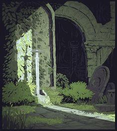 """ Between Moebius and Miyasaki, the wonderful and peaceful art of Ma-Ko ( )"" Art And Illustration, Illustrations, Environment Concept, Environment Design, Fantasy Landscape, Fantasy Art, Tag Art, Arte 8 Bits, Arte Indie"