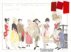 "Costume Design Sketch for Civilian Extras from the movie ""The Unfortunate Death of Major Andre"" #periodpeice #18thcentury #benedictarnold #peggyshippen #johnandre #film #movie #historical #costumedesign #americanrevolution"