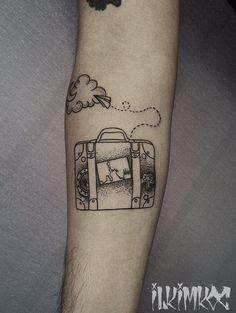 Best memories suitcase tattoo #blackwork #suitcase #tattoo