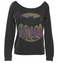 Ladies Batman Off The Shoulder Black Label Pullover from Junk Food : Main