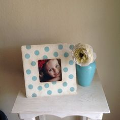 Light Blue and White Polka Dot Picture Frame by StellabytheSea, $15.00