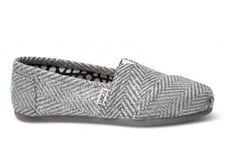 Silver Herringbone Womens Classics #toms