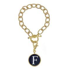 Monogrammed Toggle Bracelet with Disc | Fornash