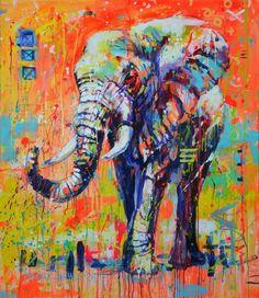 "Dispaint Full Square/Round Drill DIY Diamond Painting ""Coloring elephant"" Embroidery Cross Stitch Home Decor Gift Elephant Wall Art, Elephant Canvas, Elefante Hindu, Original Paintings, Original Art, Dream Painting, Animal Paintings, Canvas Paintings, Wildlife Art"
