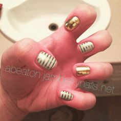 "Using ""mint & gold horizontal stripes"" and ""gold metallic"" for this look  for more designs check out my website abeaton.jamberrynails.net"
