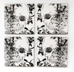 Skull in Flowers Ceramic Tile Coasters Gothic por Tilissimo en Etsy