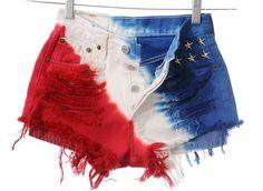 AMERICAN FLAG Stars & Stripes Studded Cut Off Shorts | fresh-tops.com