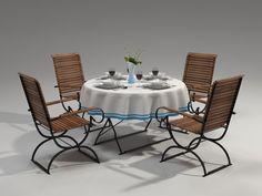 3D Model Table Chair Tableware - 3D Model