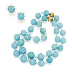 TWO GOLD, TURQUOISE AND CULTURED PEARL NECKLACES AND A PAIR OF MATCHING EARCLIPS, VERDURA