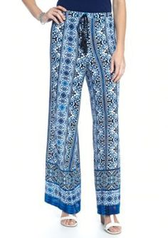 New Directions Blue  White Printed Stripe Palazzo Pant