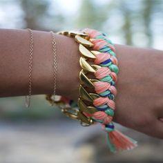 Une gourmette améliorée comme un bracelet brésilien // a pretty curb as a brazilian bracelet