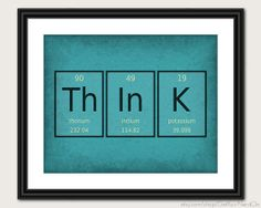 Periodic Table Word Poster  Think  Wall Art Print by GetYourNerdOn, $20.00