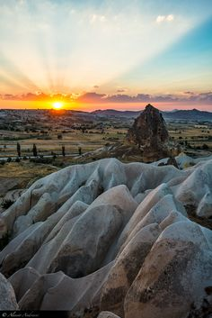 During a trip to Turkey, Alessio Andreani went on a hot air balloon tour at sunrise over the Cappadocia region with his family. The landscape of Cappadocia, seen from above in the rising sun, was simply spectacular. What A Wonderful World, Beautiful World, Beautiful Places, Scenic Photography, Landscape Photography, Nature Photography, Oh The Places You'll Go, Places To Travel, To Infinity And Beyond