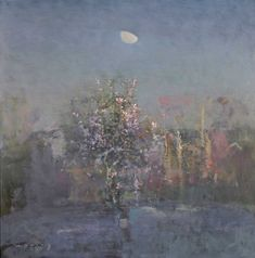 Fred Cuming Winter Morning Moonlight Painting, Painting Snow, Winter Painting, Landscape Artwork, Watercolor Landscape, Abstract Landscape, Nocturne, Paintings I Love, Nature Paintings