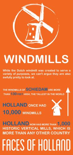 Meet the windmills, one of the six 'Faces of Holland'. In a flat country, where the wind always blows, windmills were used to mill, saw, pump and press.(http://www.holland.com/us/tourism/interests/faces-of-holland.htm). #greetingsfromnl