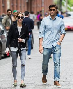 Chic couple: It came as no surprise to see Olivia Palermo looked effortlessly chic as she joined her husband Johannes Huebl for a stroll around Brooklyn on May 14, 2016