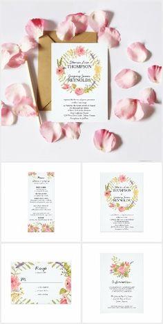 Watercolor Floral Wreath Wedding Invitation Suite