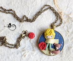 polymer clay necklace / little Prince/ fimo/ by ZingaraCreativa