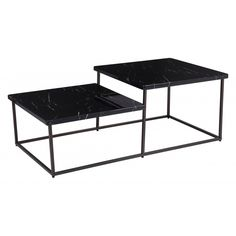 Stanton Coffee Table in Black Stone & Antique Brass - Zuo Modern your coffee table to two levels. This bi-level table is as functional as it is beautiful. Its straightforward design and open frame will look great in any modern living space. Faux Marble Coffee Table, Steel Coffee Table, Modern Coffee Tables, Coffee Table Wayfair, Black Table, Table Furniture, Steel Frame, Antique Brass, Stone