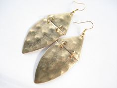 Handmade Earrings-Handcrafted Jewelry-Hand Hammered-Flamed-Unique Earrings-Contemporary Jewellery-Leaf Earrings-Gold Bronze Earrings