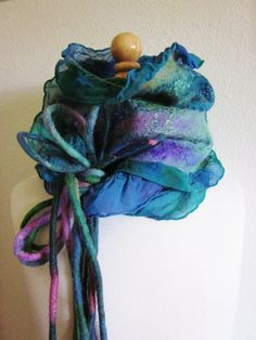 Hand Dyed  Nuno Felt Scarf Silk and Merino Wool by theytoldmesew,