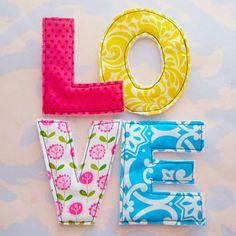 Colorful Sewn Fabric Applique Letters Embellishment LOVE